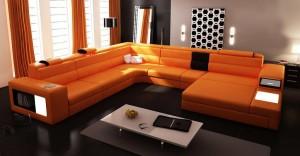 Orange-Italian-leather-couch