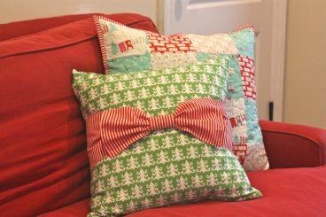 bows around pillows